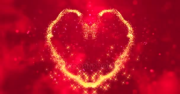 abstract gold sparkle glitter particles like hearts shape on red blur bokeh background, valentine day love holiday event