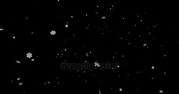 Vánoční černé pozadí s sněhové vločky padající sníh shora, dovolená Vánoce