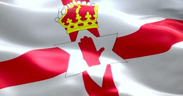 Closeup Di Ondeggiamento Animazione Di Nord Irlanda Bandiera Con Croce Rossa Sfondo E Oro Corona Simbolo Nazionale Dellirlanda Del Nord