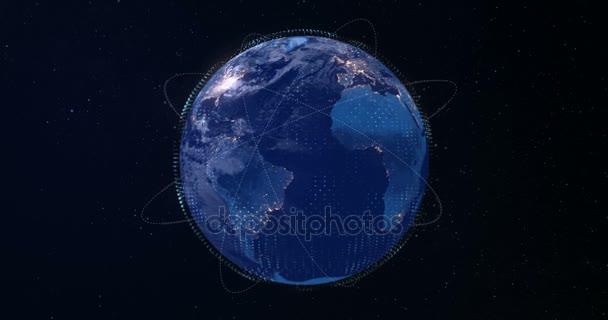 3D digitální vykreslování modrou planetu zemi světa, s záře spojovacího bodu, internet network media technologie globalizace koncept