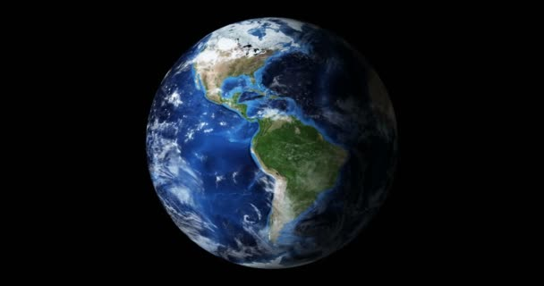 3d render animation blue planet earth from space showing America and Africa, USA, globe world isolated on black background