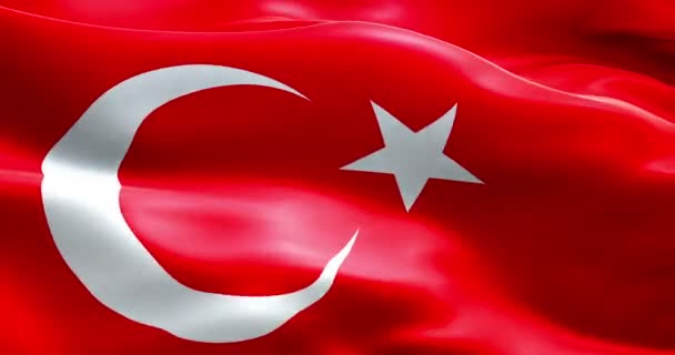 Animation flag of turkey strip waving texture fabric background, national  symbol islam arabic culture, migration refugees crisis