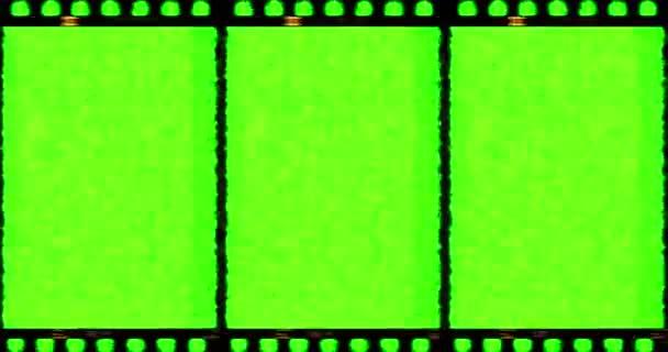 Retro staré grunge film rám s chroma key zelená obrazovka