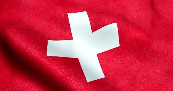 Ondeggiante Trama Del Tessuto Della Bandiera Della Svizzera Sfondo