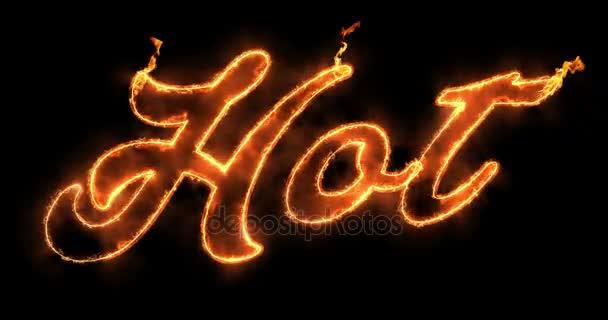 glühend heiß Word-Text mit Flamme Feuer und Rauch in Feuer auf ...