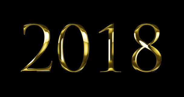 vintage yellow gold metallic 2018 word text with light reflex on black background with alpha channel, concept of golden luxury holiday happy new year