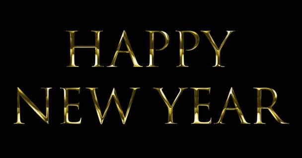 Vintage yellow gold metallic happy new year 2018, 2019, 2020, 2021, 2022  word text with light reflex on black background with alpha channel, concept  of golden luxury holiday happy new year