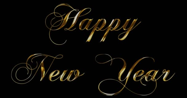 vintage yellow gold metallic happy new year 2018, 2019, 2020, 2021, 2022 word text with light reflex on black background with alpha channel, concept of golden luxury holiday happy new year event