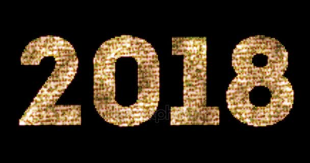 vintage yellow gold sparkly glitter lights and glowing effect simulating leds happy new year 2018 word text on black background with alpha channel, concept of golden holiday event