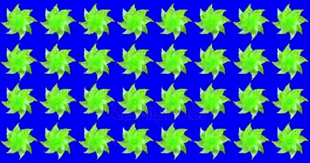 Reihe von vielen grünen Katherine Räder Wetterhahn bewegt sich auf Wind auf Chroma-Taste blauen Bildschirmhintergrund, Konzept von Spaß und Bildung Schule