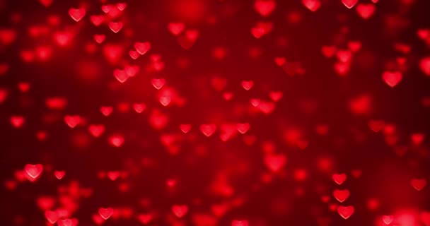 abstract christmas gradient red gradient background with bokeh glitter and red hearts shape flowing, valentine day love relationship holiday event festive concept, seamless loop