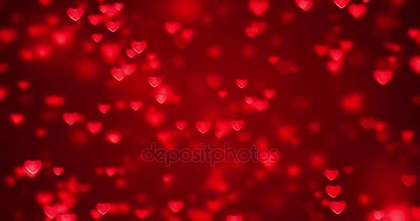 abstraktní vánoční přechodu červené pozadí s přechodem bokeh třpytky a červená srdce tvar tekoucí, valentine den láska vztah holiday události slavnostní koncepce, bezešvé smyčka