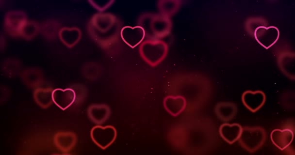 abstract christmas gradient red and purple gradient on black background with bokeh glitter and red hearts shape flowing, valentine day love relationship holiday event festive concept, seamless loop