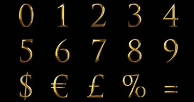 vintage font yellow gold metallic numeric letters word text series with dollar, percent, symbol sign on black background, concept of golden luxury number decoration text