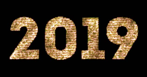 vintage yellow gold sparkly glitter lights and glowing effect simulating leds happy new year 2019 word text on black background with alpha channel, concept of golden holiday event