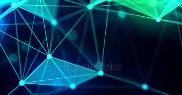 abstract blue green geometrical on black background, futuristic plexus fractal effect