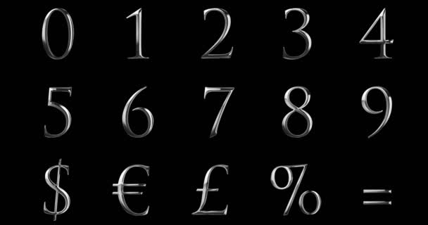 vintage font yellow silver metallic numeric letters word text series with euro, dollar, percent, equal, sterling, symbol sign on black background, with reflex shining, concept of luxury number decoration text