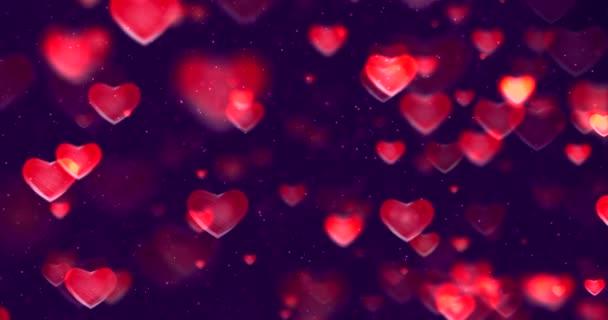 absztrakt többszínű színátmenet vörös és lila gradiens háttér bokeh glitter és piros szív alakú áramlik, Valentin nap szeretet kapcsolat holiday esemény ünnepi koncepció