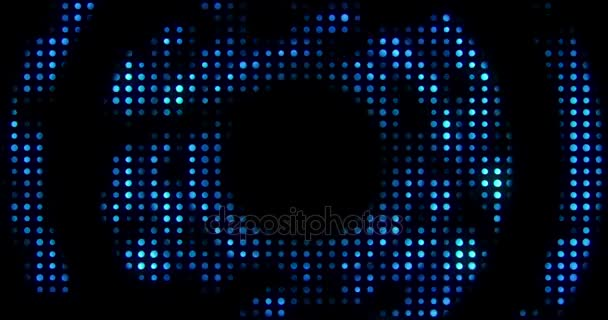 Vintage modré kovové smyčky kruh s reflexu a modré paprsky účinek na černém pozadí, koncept luxusních živá hudba disco popový koncert zábavní akce