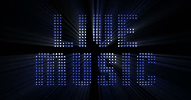 vintage blue metallic live music word text with light reflex and blue rays effect on black background, concept of luxury music disco pop concert entertainment event