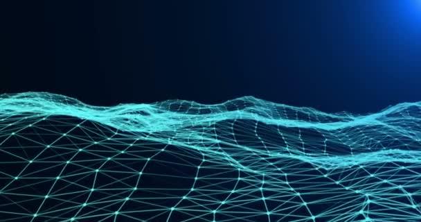 abstraktní 3d vykreslování, technologie plexus modrá dynamický digitální povrchu hnutí na stupnice modré barvy se světlým pozadím, geometrický tvar s modrým trojúhelníkem částice futuristické tapety