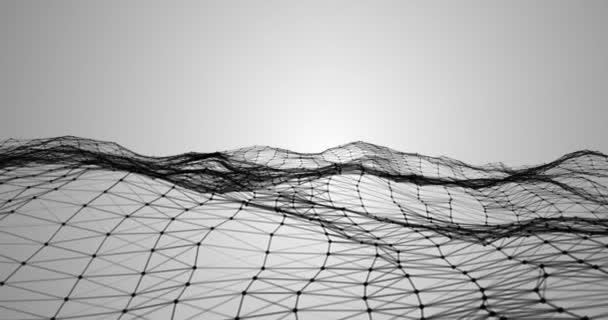 rendering 3d astratta, plesso tecnologia nera dinamico movimento di superficie digitale su sfondo grigio sfumato, forma geometrica con carta da parati futuristico di particelle di triangolo nero