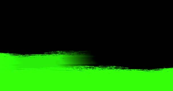 Multi abstraktní úvodní inkoust barva štětce černé horizontální zdvih přechod na chroma key zelená obrazovka pozadí, animace Malování splash