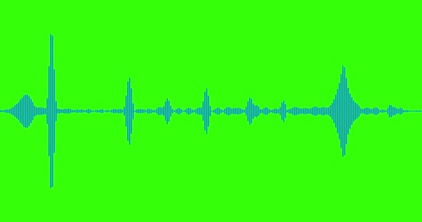 Blue digital equalizer audio spectrum sound waves on chroma key green  screen background, stereo sound effect signal with vertical lines