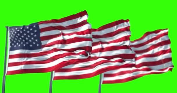 Three American Usa Flag Pole Stars Stripes United States America