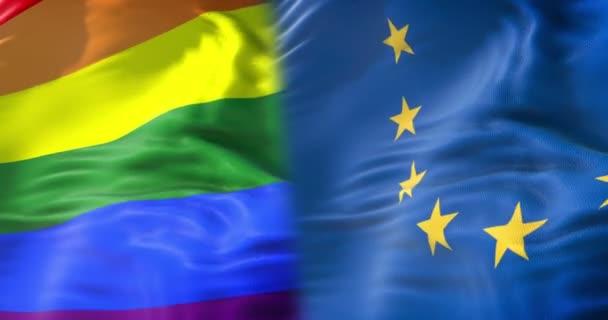 polovina mává barevné gay hrdosti Duhová vlajka a půl Evropské unie mává, občanské právo označit v Evropě bezešvé opakování, mír v pojetí světa