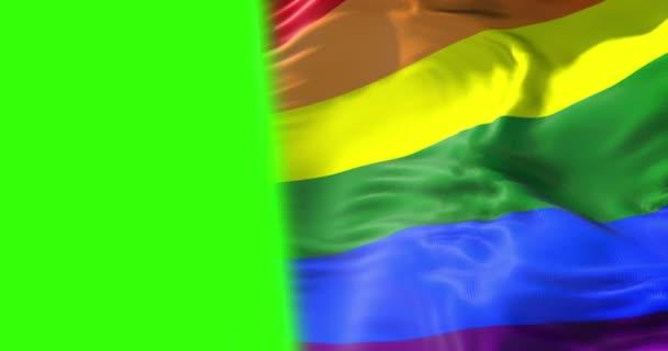 mává barevné duhové vlajky gay hrdosti, občanské právo označit, mír v pojetí světa na chroma klíč fabion, s prostorem pro text
