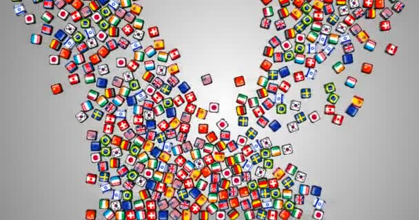 world flags, a lot of dice with flag of nation of the world on the face falling down on grey screen gradient and fill the screen
