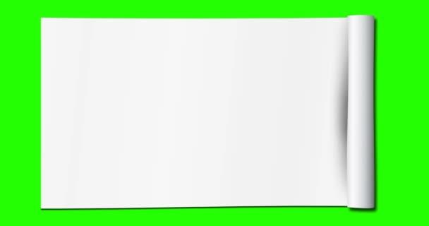 rozbalený bílý papír s více efekty rozbalenými na zeleném chroma klíči