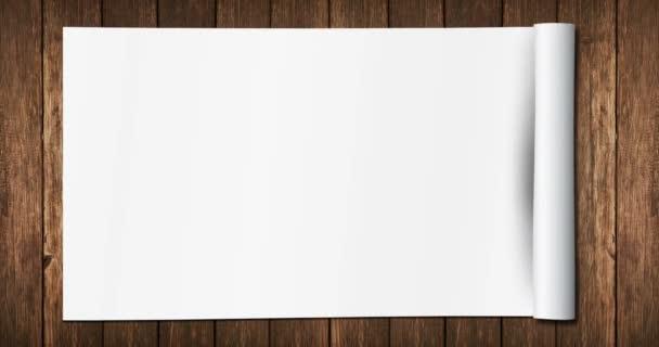 bílý papír rozvinutý s více efekty rozvinuté na starém dřevě