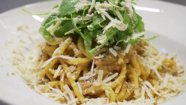 spaghetti noodles in pasta plate with green basil leaves and Parmesan cheese