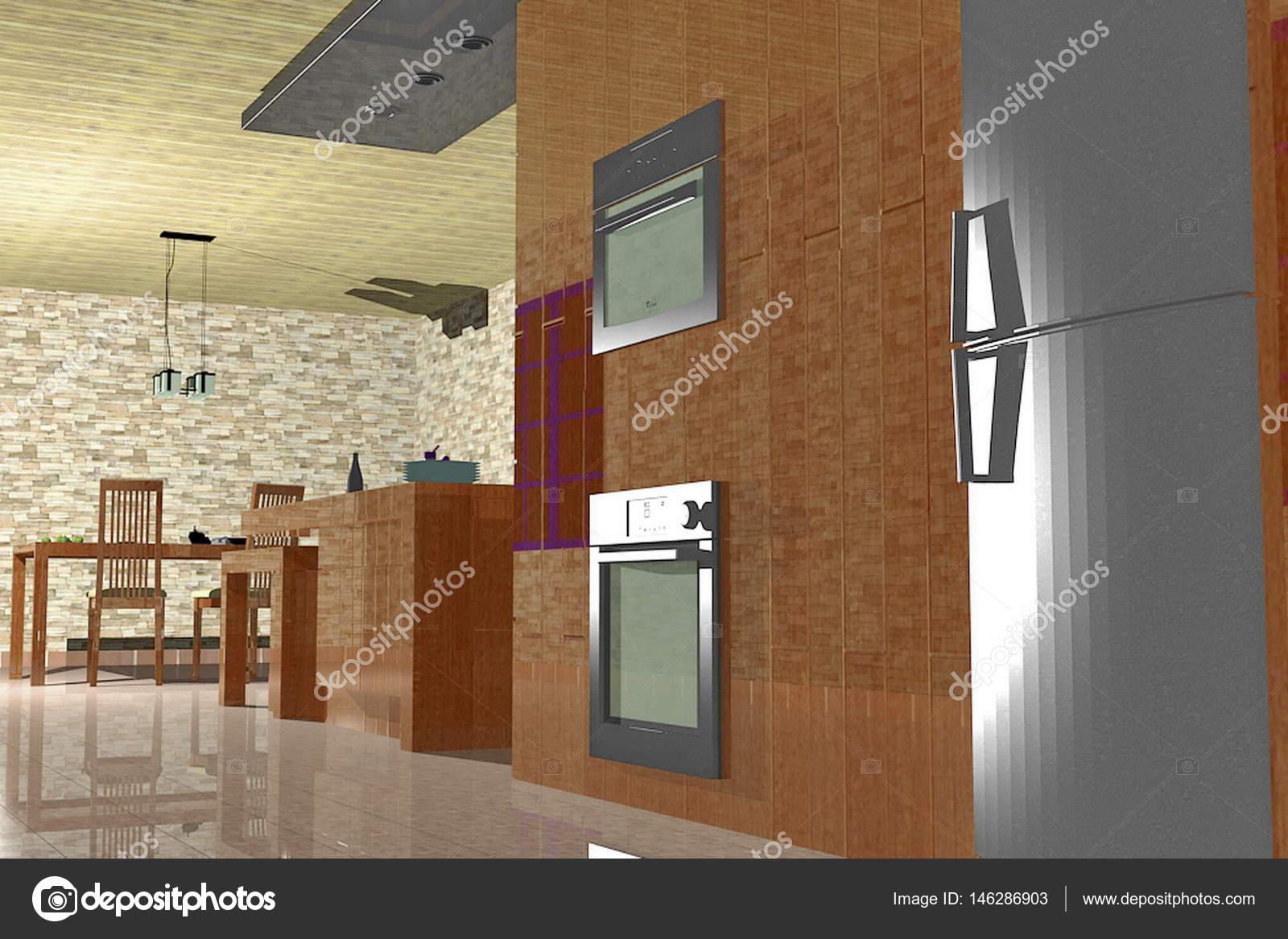 Keukenhoek met open plattegrond uitzicht over woonkamer — Stockfoto ...