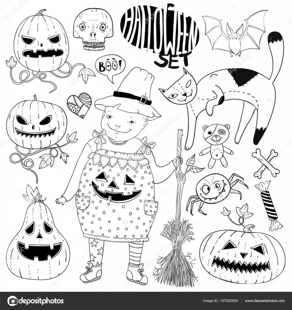Gran juego de halloween con poco bruja chica gato, calabazas caras ...