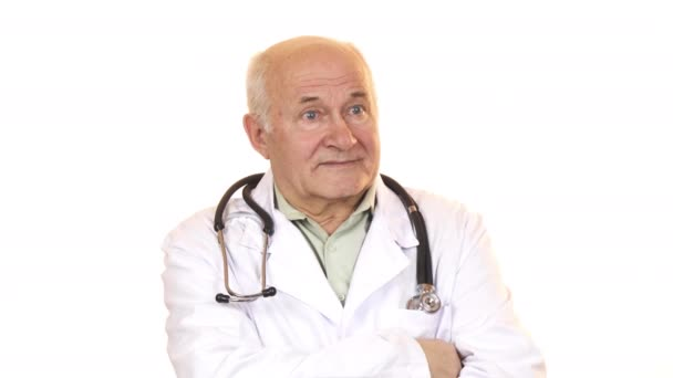 Senior male doctor with a stethoscope smiling to the camera