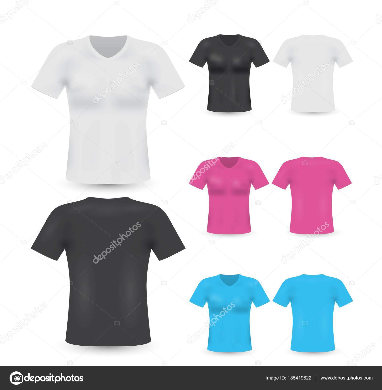 Set Blank Shirts Template Front Back Side — Stock Vector ...