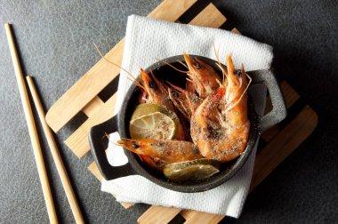 Cooked shrimp background