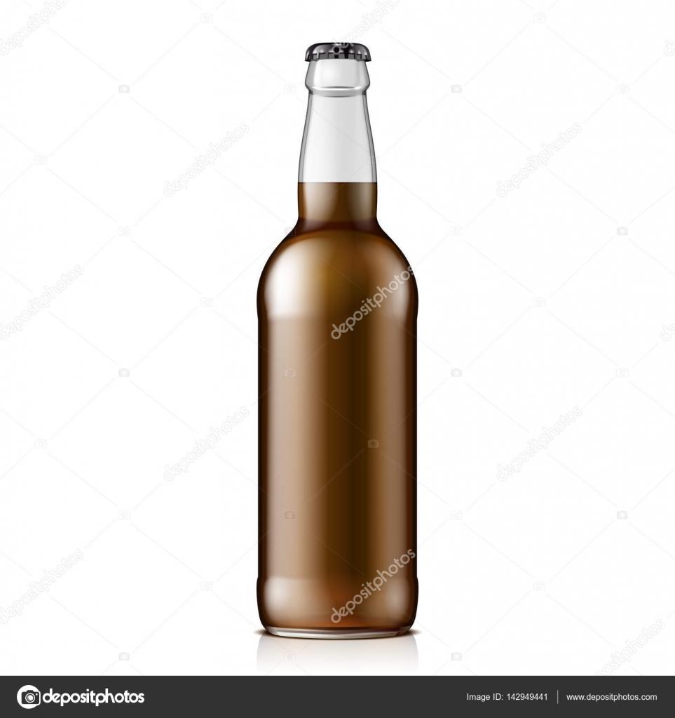 Glas Cola oder Bier Flasche braun. Kohlensäurehaltige Getränke. Mock ...