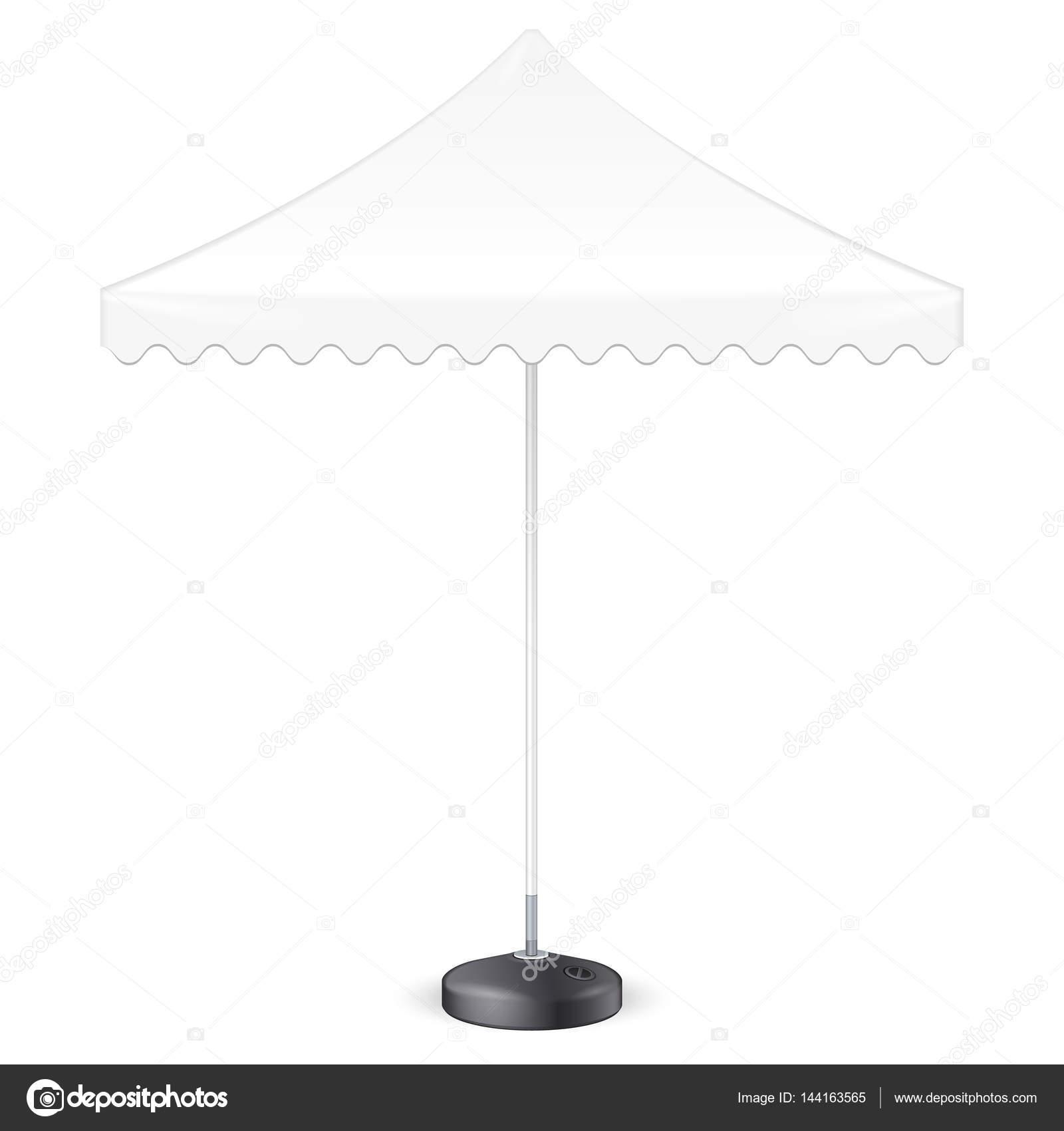 Werbe Platz Werbung Garten weißen Regenschirm Sonnenschirm. Ansicht ...