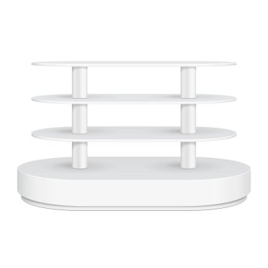 Rounded Floor Display Rack For Supermarket Empty With Shelves. 3D. Front View. Mock Up, Template. Illustration Isolated On White Background. Ready For Your Design. Product Advertising. Vector EPS10
