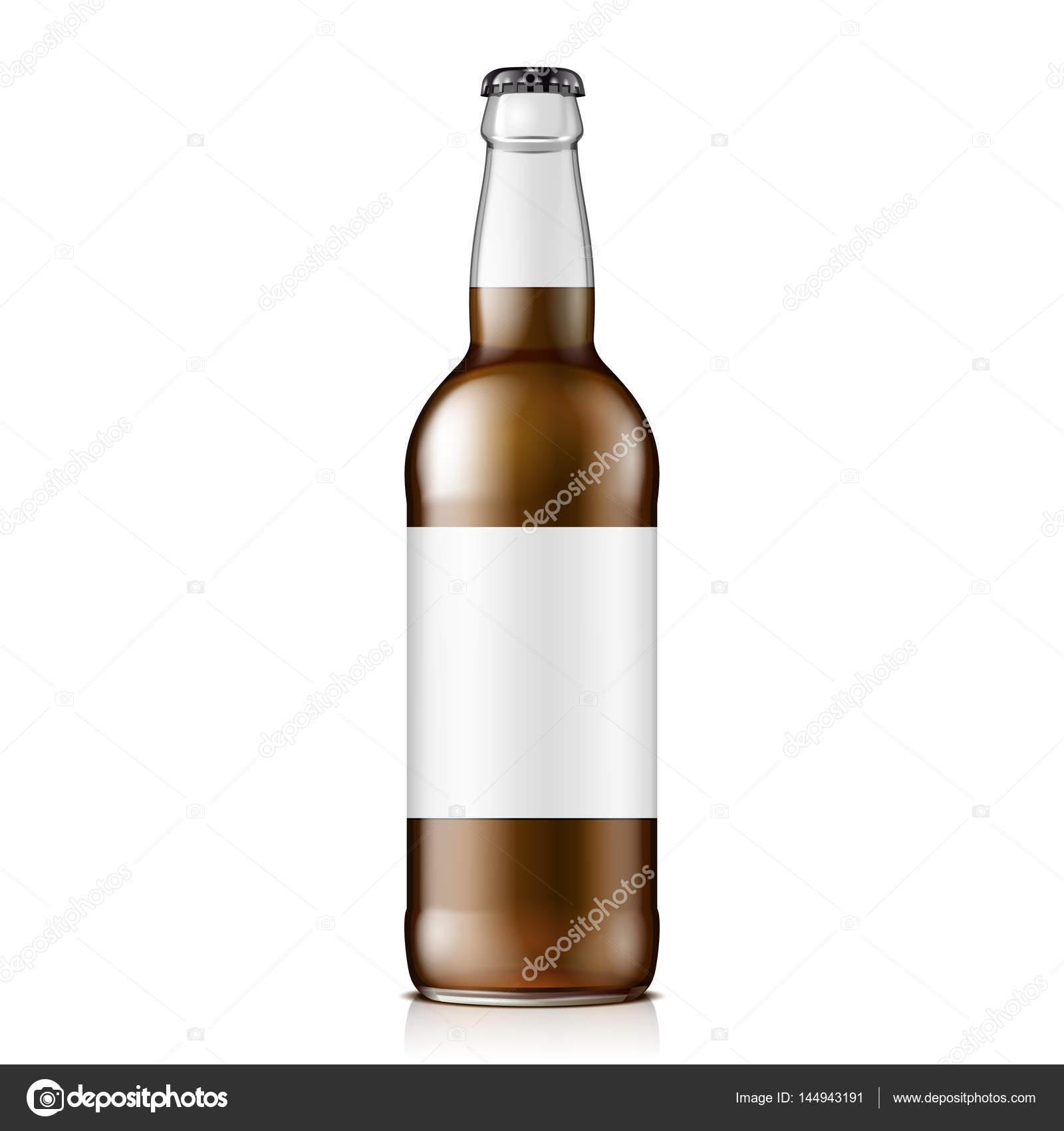 Glas Cola oder Bier braune Flasche mit Etikett. Kohlensäurehaltige ...