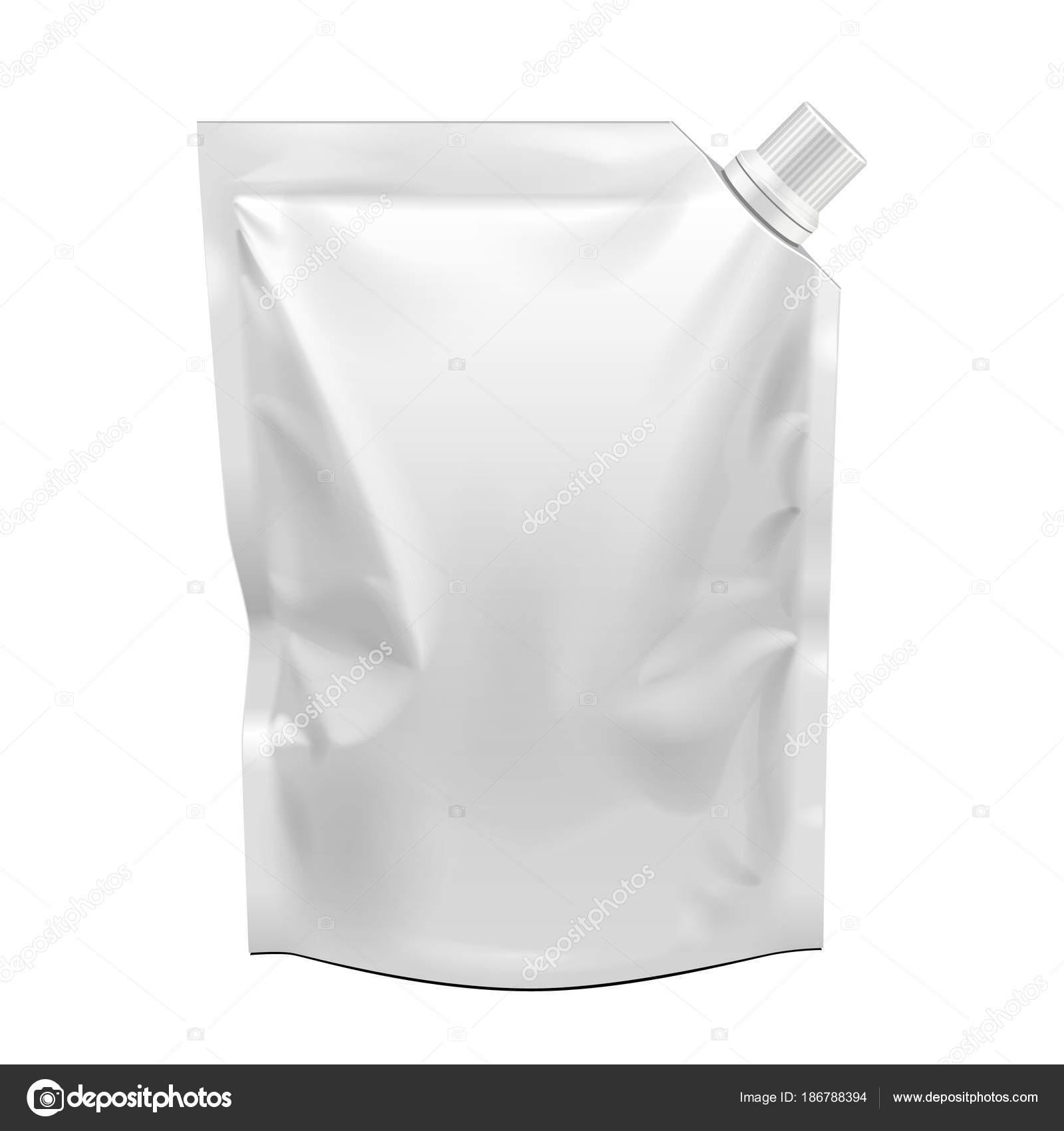 Alimentos en blanco Flexible en blanco pie bolsa con tapa de pico ...