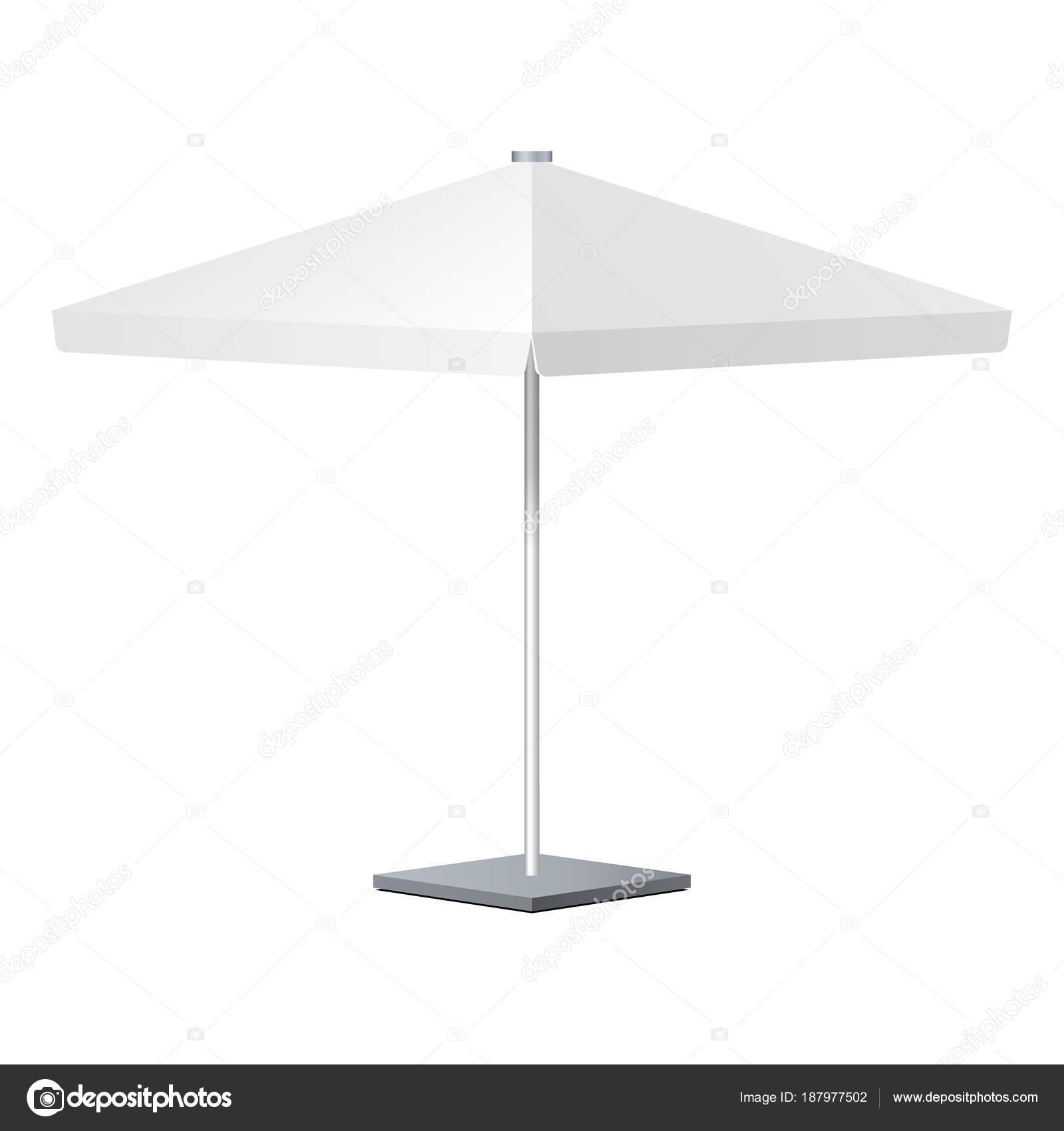 Werbe Platz Werbung Garten weißen Regenschirm Sonnenschirm. Mock-Up ...