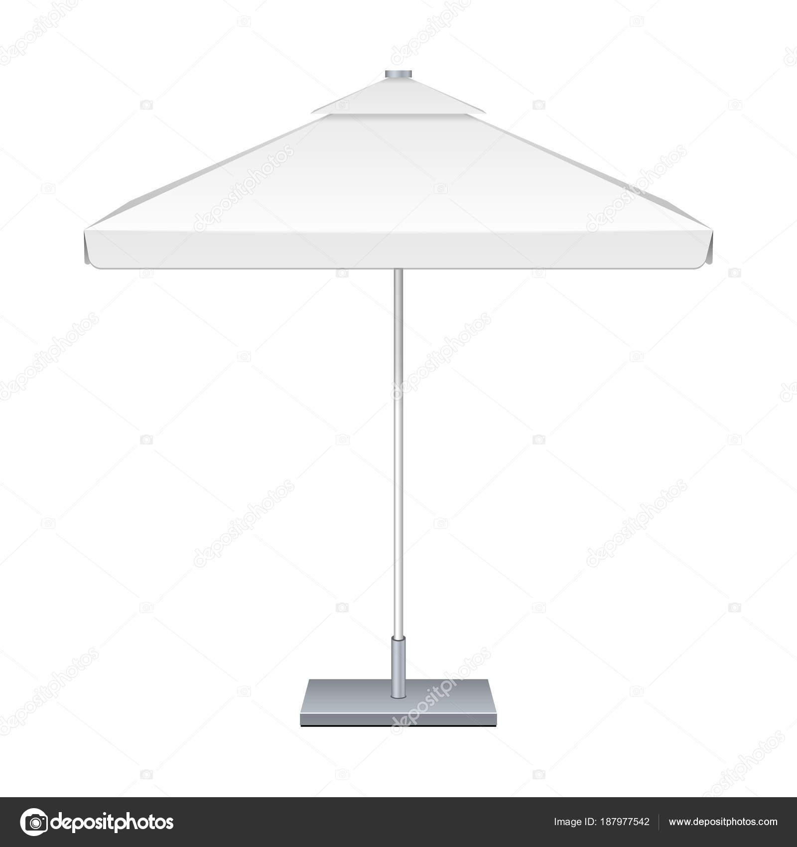 Werbe quadratischen Garten weißen Regenschirm Sonnenschirm. Ansicht ...