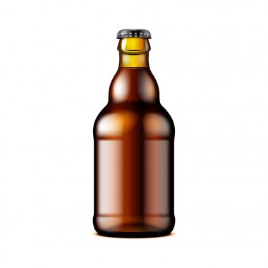 Glass Dark Brown Beer, Ale, Cider Bottle. Carbonated Soft Drink. Mock Up Template. Illustration Isolated On White Background. Ready For Your Design. Product Packaging. Vector EPS10