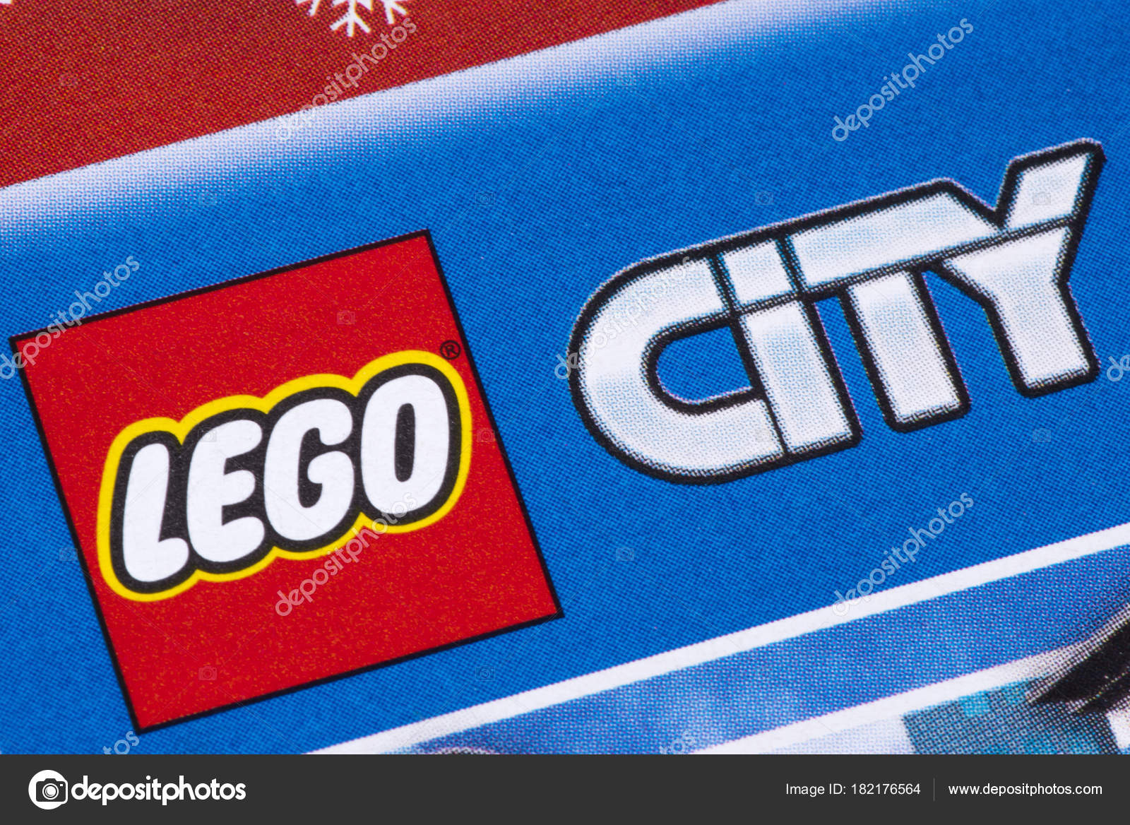 lego city logo in a catalogue � stock editorial photo