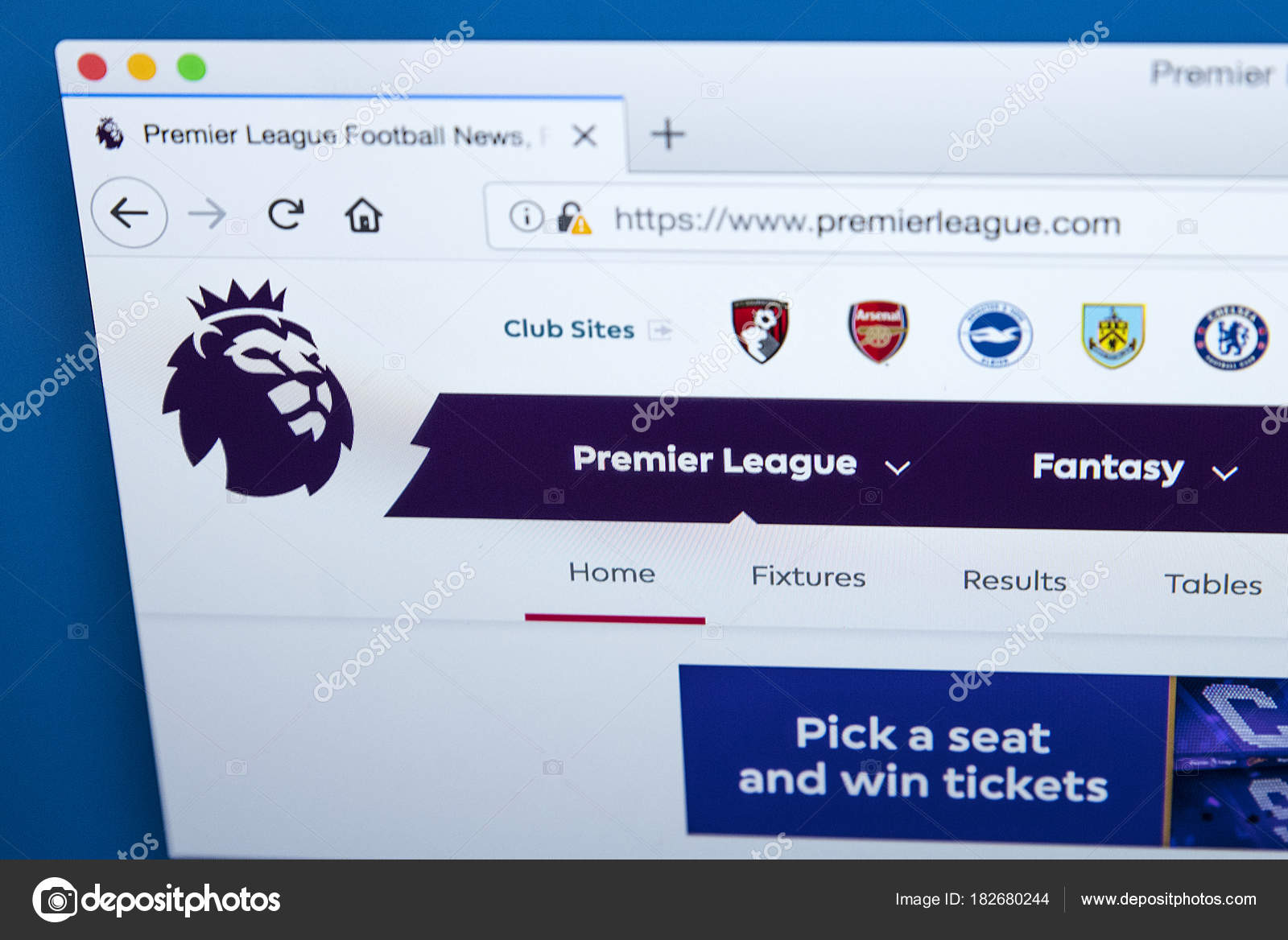 English Premier League Website - Stock Editorial Photo